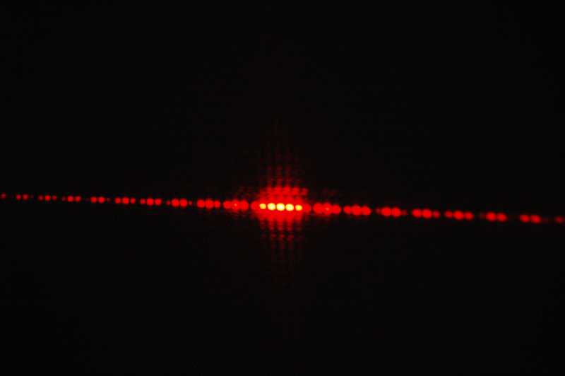 Description: This demonstration shows the double slit interference pattern for laser light.